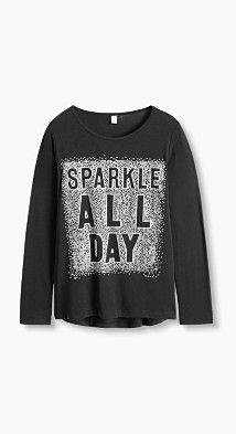 Details:  -The flowing jersey fabric made from soft blended cotton makes this long sleeve top comfortable. -SPARKLE ALL DAY – the striking statement print made up of countless polka dots made from 3D foamed glitter is so eye-catching.