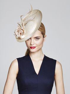 Pinopok percher with silk rose and curled bleached pheasant feathers | Juliette Botteril Millinery | Spring-Summer 2015