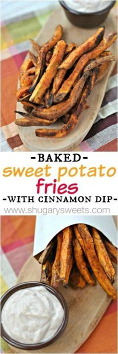 Roasted Sweet Potato Fries with sweet and spicy Cinnamon dip by corine