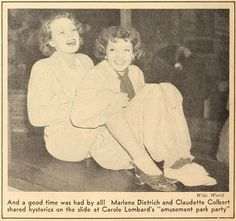 "Marlene Dietrich and Claudette Colbert at Carole Lombard's ""amusement park party"" (from Movie Classic magazine, September 1935)"