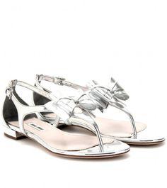 Metallic Leather Sandals - Lyst