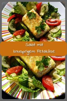 Salat mit knusprigem Fetakäse Ein schnell gemachter Salat mit Tomaten, Gurke un… Salad with crunchy feta cheese A quick salad with tomatoes, cucumber and as a sattler a crispy piece of feta cheese. To make the feta crispy, it has to be breaded. Healthy Recipe Videos, Good Healthy Recipes, Ground Beef Enchiladas, Pro Cook, Feta Salat, Kids Cooking Recipes, Cooking Games, Dinner With Ground Beef, Quick Dinner Recipes