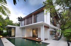 Outdoor Pool Deck, Modern Home in Kuala Lumpur