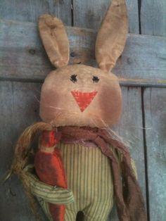 "Primitive 19"" Bunny RAbbit Doll feed sack ticking linen carrot  Door charmer  #NaivePrimitive"