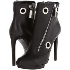 Alexander McQueen Biker Eyelet Bootie Women's Boots, Black ($435) ❤ liked on Polyvore featuring shoes, boots, ankle booties, heels, black, leather booties, black platform boots, high heels stilettos, black leather boots y black heel boots