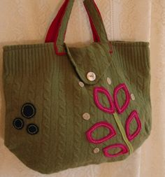 Recycled/Upcycled wool sweater PURSEGreen with by msadesignstudio, $45.00 wool sweater, purs