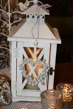 Holz Laterne Weiß Shabby Chic mit Glas Landhaus