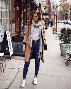 STREET STYLE - Casual layered winter look with sneakers. Gucci GG belt