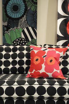 Mistral Sofa With Marimekko Print Textile Patterns, Textile Design, Floral Patterns, Marimekko Fabric, Bold Prints, Lino Prints, Living Furniture, Textile Artists, Decorating On A Budget
