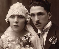 Help me to re-create my great-grandmother's beaded wedding headpiece - JEWELRY AND TRINKETS - This is a picture of my grandpa's parents on their wedding day, back in the The groom was a tailor, and he met the bride because she was a Flapper Wedding, Wedding Headdress, 1920s Wedding, Headpiece, Vintage Wedding Photos, Wedding Pics, Wedding Couples, Wedding Styles, Vintage Weddings