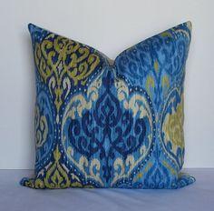 Designer ikat pillow cover Waverly Decorative 18x18 throw cushion blue-citron-navy-sand