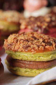 Caramel Apple Macaron with a cinnamon apple butter buttercream