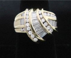 Channel Baguettes & Rounds Diamond Ring, 1.50CT Total,, 14K Yellow Gold