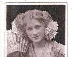 RP antique old postcard Edwardian Actress Miss Phyllis Dare and fan nice long hair up downton abbey style downtown abbey