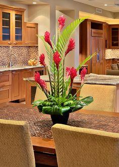Tropical Flower Arrangements, Creative Flower Arrangements, Church Flower Arrangements, Table Arrangements, Tropical Flowers, Altar Flowers, Church Flowers, Table Flowers, Church Altar Decorations