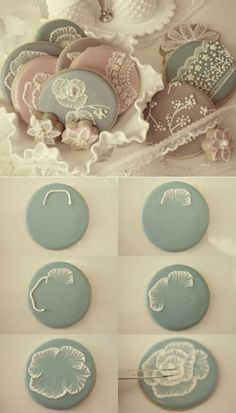 Frosting cookies how-to (and polymer clay embellishing?) This looks like a cool idea