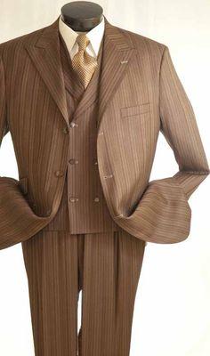 Vittorio St. Angelo Men's Fashion 3pc Suit in multi stripe pattern- Wide Leg Pants