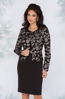 Costum Aurora negru cu imprimeu floral Aurora, Peplum, Tunic Tops, Costumes, Long Sleeve, Floral, Sleeves, Women, Fashion