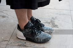 Model Louis Kurihara wears Limi Feu, and Tiger trainers on day 5 of Paris Fashion Week Menswear Spring/Summer 2016 on June 28, 2015 in Paris, France.