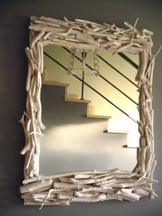 DIY mirror~ i want to make one with birch branches surrounding it! - Home Decor Ideas Driftwood Mirror, Diy Mirror, Mirror Ideas, Wall Mirror, Twig Furniture, Birch Branches, Driftwood Projects, Diy Frame, Diy Home Decor