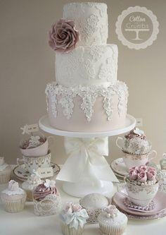 ... vintage wedding cake with pastel sugar flowers ...