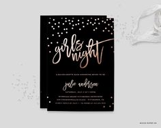 Girls Night Bachelorette Party Invitation - One Last Fling Before the Ring - Wedding Shower Invitation - Bridal Shower Invite - 5x7 by blushprintables on Etsy https://www.etsy.com/listing/259141074/girls-night-bachelorette-party