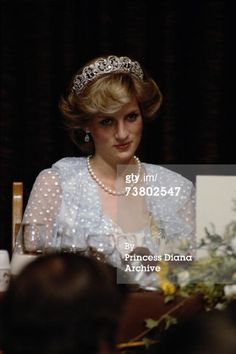 April 20, 1983: Princess Diana at a state banquet in Wellington given by the New Zealand Prime Minister, Robert Muldoom.  (Photo by Jayne Fincher/Getty Images) April, 1983