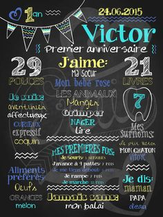 Affiche personnalisée 1er anniversaire Mignons fanions (turquoise) | 28,00$ #chalkboard #lacraieco Diy Invitations, Birthday Invitations, Moustache Party, Baby Posters, Party Organization, Chalkboard Designs, Baby Scrapbook, Diy Photo, Baby Birthday