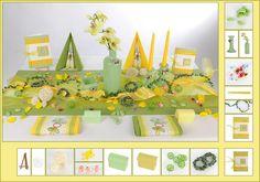 Tischdeko Taufe 6 in Grün/Gelb als Mustertisch - Tafeldeko.de
