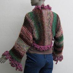 aadf7d804fb1 Free Ship Shrug bolero cropped sweater fringed hand knit crochet hippie  Bohemian wool blends M L