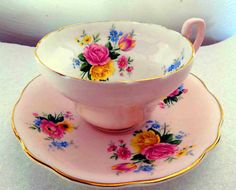 $35.00 EB #Foley English FINE BONE CHINA Pink Floral #cupandsaucer #TucsonTiquesCollectibles
