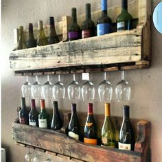 Clever wine & wine glass rack made from pallets