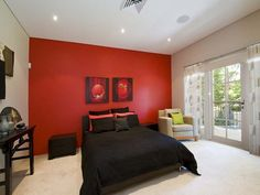 red accent wall bedroom - Google Search