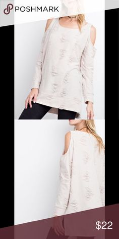 9404d2e7031 Easel Cold Shoulder 2Tone Knit Sweater In Natural. New Arrival From Easel!!  Ultra
