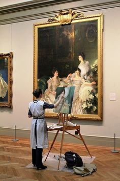 Artist Maud Taber-Thomas at the MET copying John Singer Sargent - 'The Wyndham Sisters' Photo by Xueli Zheng. You Are My Moon, Tableaux Vivants, Art Et Architecture, Atelier D Art, Night At The Museum, Artist Aesthetic, Aesthetic Makeup, Art Hoe, Metropolitan Museum