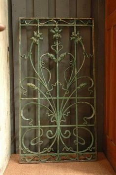Antique French Iron Gate with Green Patina – SOLD