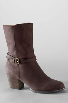 Women's Harris Strap Mid Heel Boots - Sierra Brown, 6 from Lands' End on Catalog Spree, my personal digital mall.