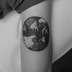 Mountain, forest, nature, tent, tee-pee, water, moon, camping, triangle, dot, black and white tattoo