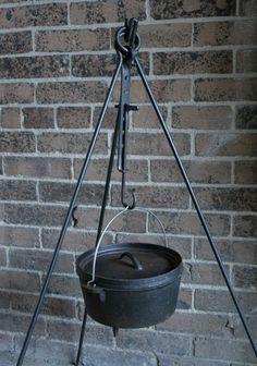 Campfire cooking tripod + trammel hook - bushcraft, dutch oven, bell tent, yurt
