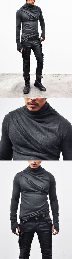 Tops :: Knits :: Black Ready)Avant-garde Bandage Armwarmer Turtle-Knit 32 - Mens Fashion Clothing For An Attractive Guy Look #MensFashionShirts