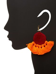 """Shashi Zoey Statement Earrings Gold-plated brass statement earrings with cotton crochet and cotton and nylon floss details Fishhook closure Measurements: 3¾"""" long, 3½"""" wide Material: Gold-plated brass, cotton, and nylon Brand: Shashi Origin: United States"""