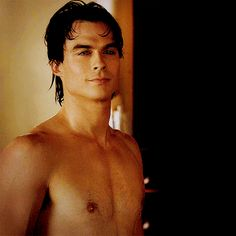Pin for Later: 21 Times the Men of The Vampire Diaries Revealed Their Glorious Abs When fresh-faced Damon steps out looking like a god
