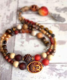 semiprecious stone boho necklace  skull buddha hand of by VonFrida