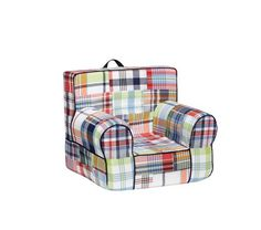 Mikah's little man chair with monogram | Navy Madras My First Anywhere Chair | Pottery Barn Kids