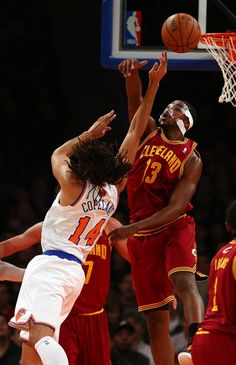 Cavaliers Knicks Basketball - DECEMBER Tristan Thompson of the Cleveland Cavaliers blocks a shot from Chris Copeland of the New York Knicks on December 2012 at Madison Square Garden in New York City. Tristan Thompson, American Sports, Madison Square, New York Knicks, Cavalier, Sports News, Cleveland, New York City, Nba