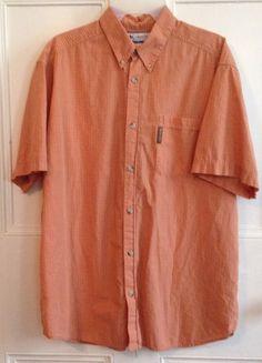 Columbia Shirt Mens Size L Orange Short Sleeve Sz Large Cotton Button Front #Columbia #ButtonFront
