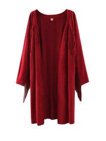 Long Sleeves Tassels Open Front Coat img
