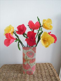 Sunny Meadow. Crepe California poppies with a toning card vase.