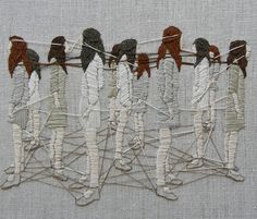 Michelle Kingdom is a Embroidered Psychological Landscapes artist. Michelle Kingdom uses thread like paint in her highly expressive embroidery of peculiar situations. Her dense embroidery builds up… Embroidery Works, Modern Embroidery, Embroidery Stitches, Hand Embroidery, Sculpture Textile, Textile Fiber Art, Textile Artists, Art Fil, Thread Art