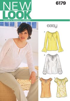 16c760cc41a New Look A Sewing Pattern 6179 Misses Tops